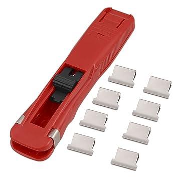 Plástico Rojo Papel Rápido Almeja Clip Grapadora Dispensador: Amazon.es: Oficina y papelería