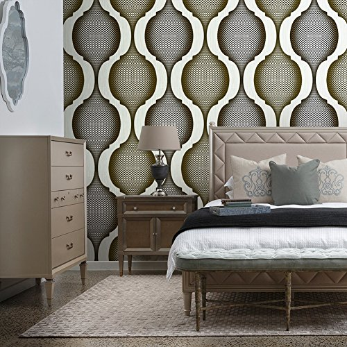 8121 Geometric Pattern Wallpaper Rolls,Silver/Gold Embossed Wall Paper Murals Bedroom Living Room Hotels Wall Decoration 20.8