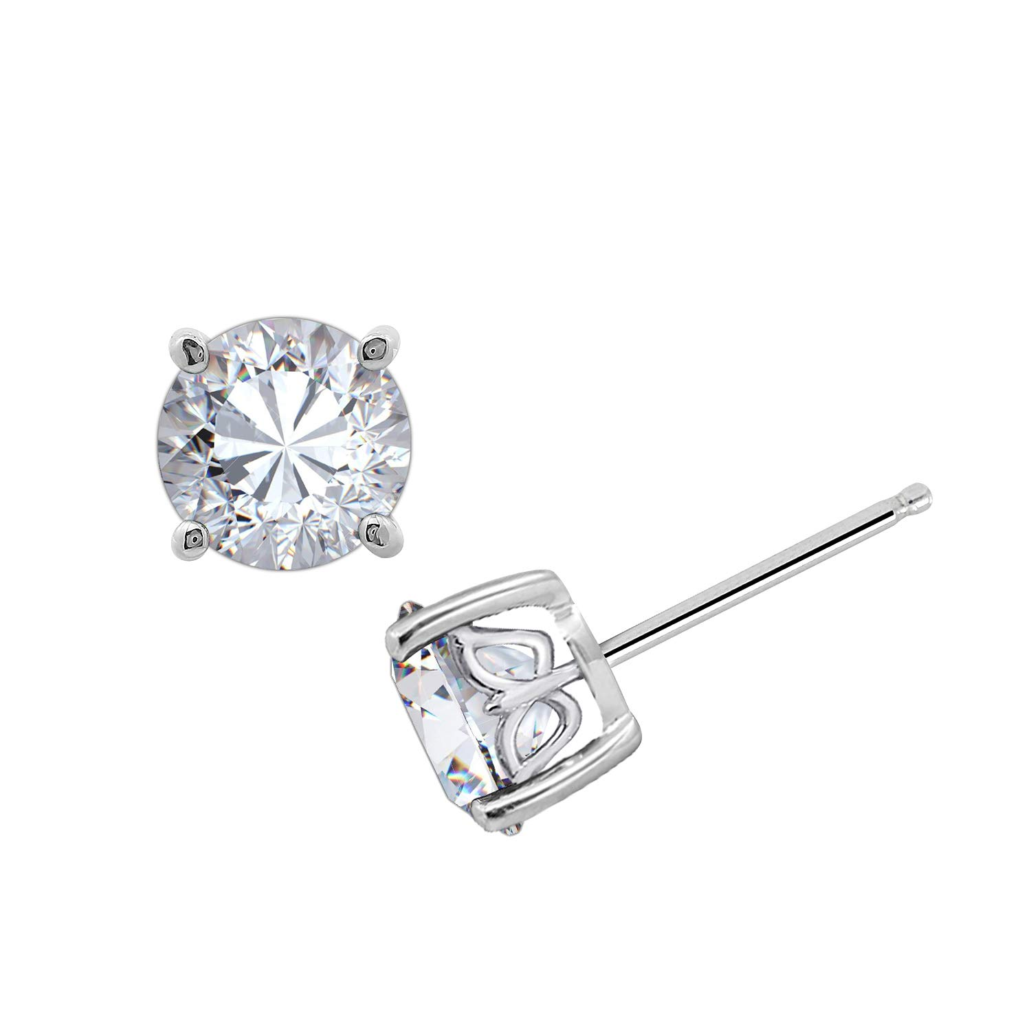 GEMOUR Rhodium Yellow Gold Rose Gold Plated Sterling Silver 2 cttw Round Cut Cubic Zirconia Stud Earrings