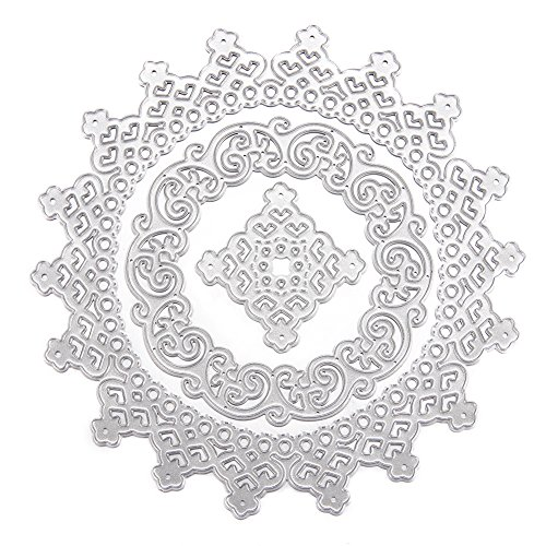 Punch Embossing Lace (Adeeing Carbon Steel Cutting Dies Cut Dies Stencil Metal Template Mould for DIY Scrapbook Album Paper Card Decoration Circular lace 3pcs)