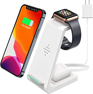 Wireless Charger Stand, 3 in 1 Fast Wireless Charging Station Dock for Airpods Pro 2, Apple Watch Series 5/4/3/2, iPhone 11/11 Pro/11 Pro Max Qi Certified Phones(with QC 3.0 Adapter