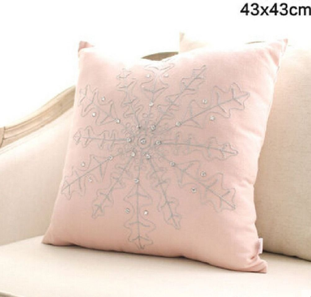 Inteeon home series 4545cm Europe Style Modern Light Pink Pillow Cushion Flower Snow Shape