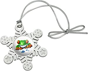 GRAPHICS & MORE Rainforest Red Eyed Tree Frog and Ant Metal Snowflake Christmas Tree Holiday Ornament