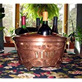 4 Wine Bottle Ice Bucket Stainless W/copper Finish NEW