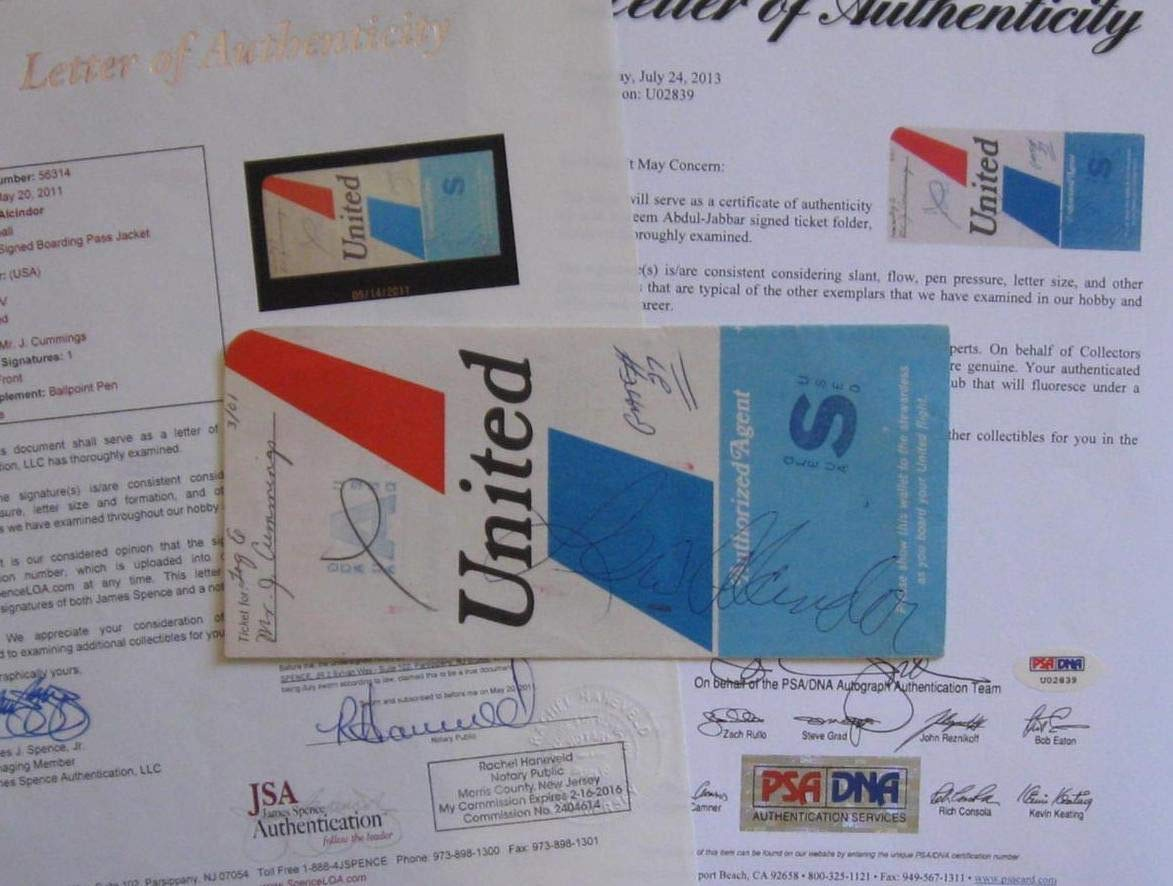 Lew Alcindor Autographed Signed 1970 United Airlines Ticket Holder PSA/DNA Authentic & JSA Authentic So Rare