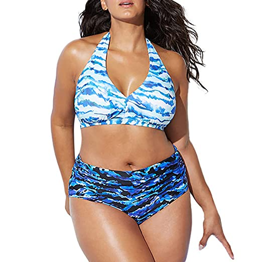 75304508f50e7 Amazon.com: Womens Printing Beach Bathing Suits Plus Size High Waist  Vintage Retro Bikini Women Push up Swimwear: Clothing