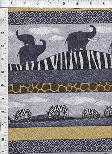 """Quilting Treasures Amboseli"""" Safari Animals Stripe Fabric"""
