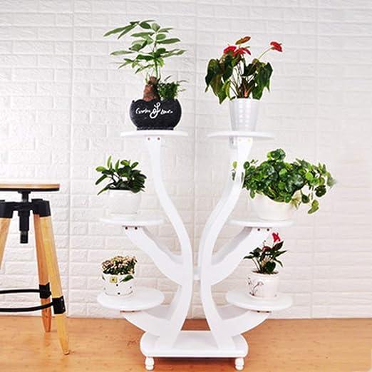 SBS Soporte De Flores Estante Estantería Escalera Estantería Decorativas De Plantas Flores para Decoración Exterior Interior Jardín Expositor Madera, White: Amazon.es: Jardín