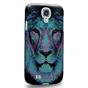 Case88 Premium Designs Art Animal Aztec Face Series Aztec Lion Face Blue Carcasa/Funda dura para el Samsung Galaxy S4
