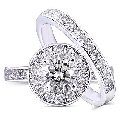 Amazon.com: DOVEGGS - Juego de 2 anillos de compromiso de ...
