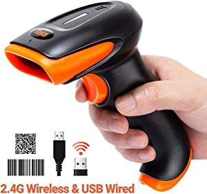 Tera Wireless 2D 1D QR Barcode Scanner, 2.4GHz Wireless & USB Wired Connection, Fast and Precise Auto Scan Rechargeable USB Image Bar Code Reader, 6.5 feet Ultra Long USB Cable with Vibration Alert