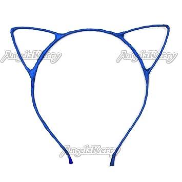 AngelaKerry 10pcs Blue Cat Ear Girl Metal Headbands Satin Ribbon Hairbands for Girls Birthday Party DIY