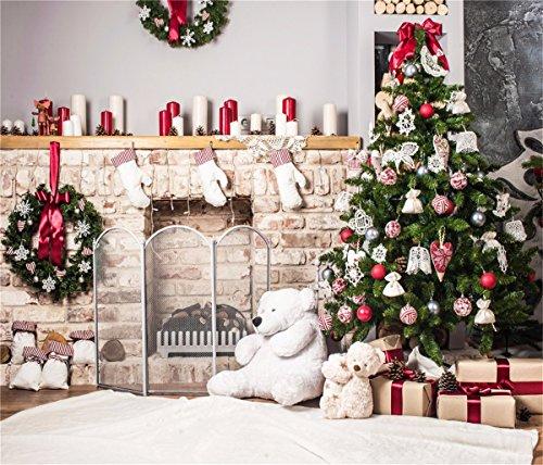 10x10ft Christmas Tree Backdrop Photography White Brick Fireplace for Newborn Christmas Photo Studio Background -