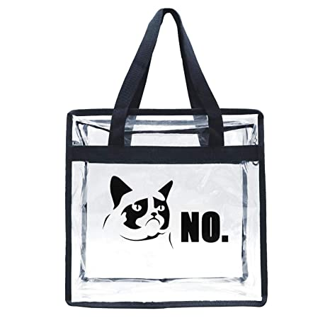 780cf27315d8 Amazon.com : Hoioeps Stadium Approved Clear Tote Grumpy Cat NO Funny ...