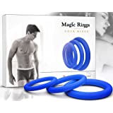 Magic Rings Erection Ring Set 3Pcs (Blue) – 100% Medical Silicone Cock rings for Men – Erection Enhancing – For Longer Pleasure - Adult Toys for Sex - Ejaculation Delay Control Prostate Rings