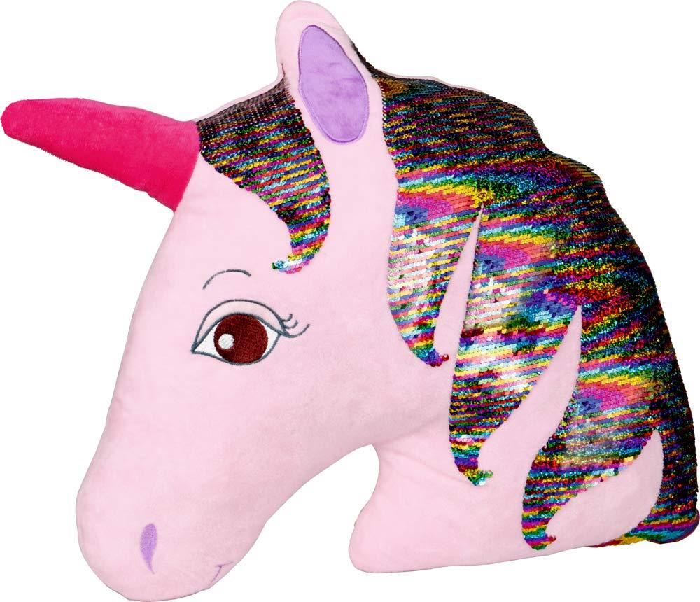 Einhorn Paradies Spiegelburg Cojin de Peluche Acariciar Arrullar en Forma de Unicornio en Rosa con Lentejuelas Reversibles 40x40cm: Amazon.es: Hogar