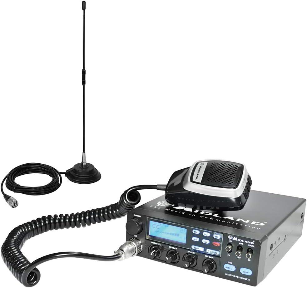 Paquete de Radio CB Midland Alan 48 Multi Plus B + Antena Extra 45 con imán, 4 W 12 V, 40 Canales