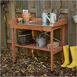 Cypress Wood Potting Bench with Metal Top and Storage to Hold All of Your  Gardening Tools