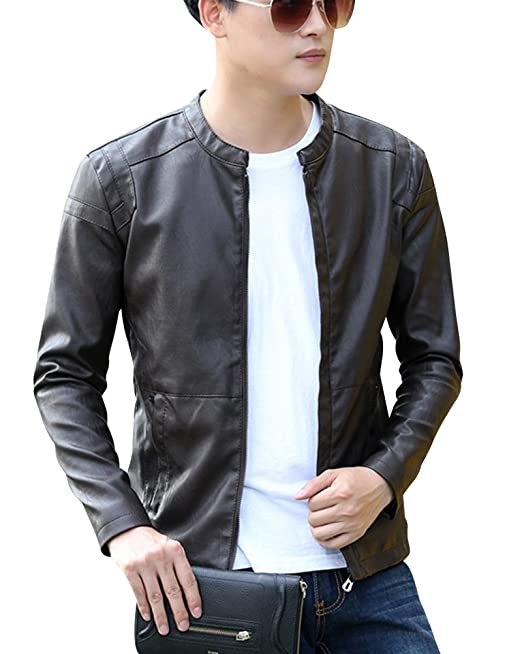 DianShao PU Cuero De Abrigos De Moda para Hombre Chaqueta Jacket Outerwear Leather Top: Amazon.es: Ropa y accesorios
