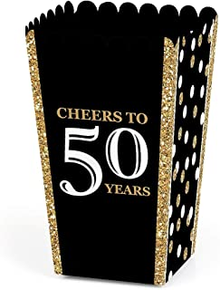product image for Adult 50th Birthday - Gold - Birthday Party Favor Popcorn Treat Boxes - Set of 12
