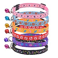 Nylon Cat Collar Adjustable Puppy Collar with Bell Unique Design Pattern - 6 Packs