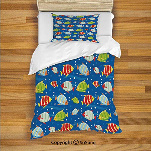 SoSung Nursery Kids Duvet Cover Set Twin Size, Vibrant Colored Fish on a Navy Blue Background Marine Life Digital Art Decorative 2 Piece Bedding Set with 1 Pillow Sham,Navy Blue Multicolor