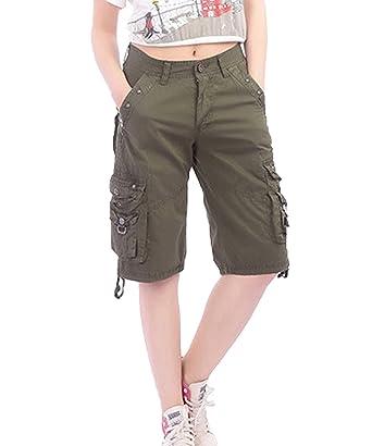 1e5de944a84f0d DEMO SHOW Damen Shorts Lässig Multi Taschen Sport Wear Knielangen Bermuda  Cargo Shorts (Armeegrün,