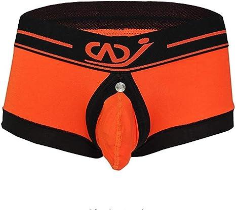 FJLOVE Hombre Naranja Algodón Bóxer Underwear Cintura Baja Desnudo ...