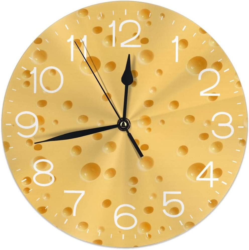 Wall Clock Funny Food Cheese Pattern Decorative Wall Clock Silent Non Ticking - 9.8Inch Round Easy to Read Decorative for Home/Office/School Clock