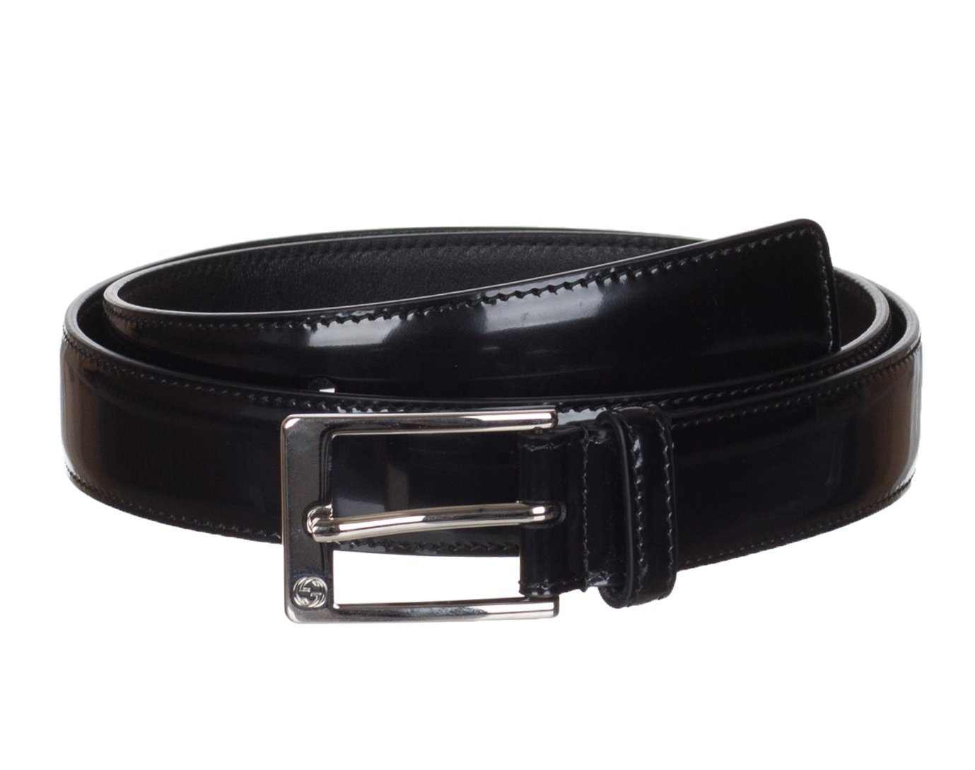 Gucci Men's GG Black Shiny Leather Square Buckle Belt, 36, Black
