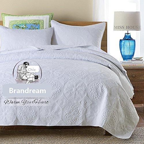Brandream White Vintage Bedding Embroidery Comforter Set Luxury Oversized Coverlet Set Queen Size
