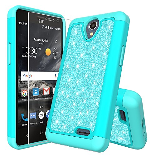 For ZTE Prestige 2 N9136/Maven 3 Z835/Overture 3/Prelude 3 Z851 Cute Glitter Bling Sparkle Dual Layer Protective Hybrid Case With HD Screen Protector (Teal)
