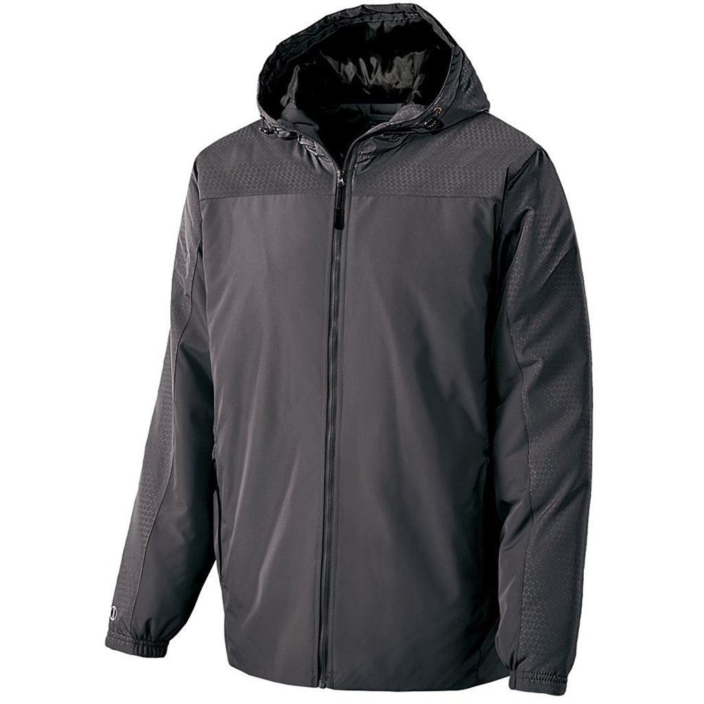 Holloway Youth Bionic Hooded Jacket (Large, Carbon/Black)
