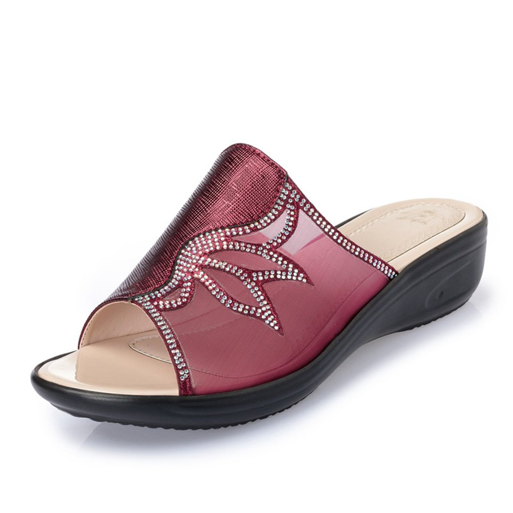 Btrada Women's Comfortable Wedge Sandals Summer Anti-Slip Thick Bottom Slide Shoes B07BQKMFZ2 8.5 B(M) US|Red