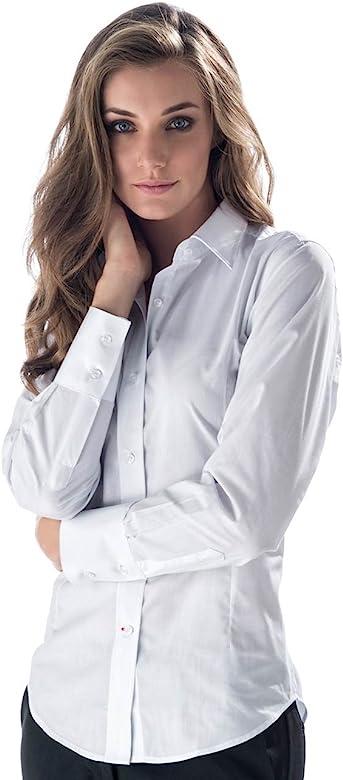 brand new 26422 1be8e Camicia Bianca da Donna da Sala - Bar Ideale per Bariste e Cameriere -  Marca Italiana - Comodo Taschino sul Cuore e Colletto in Tessuto Rigido