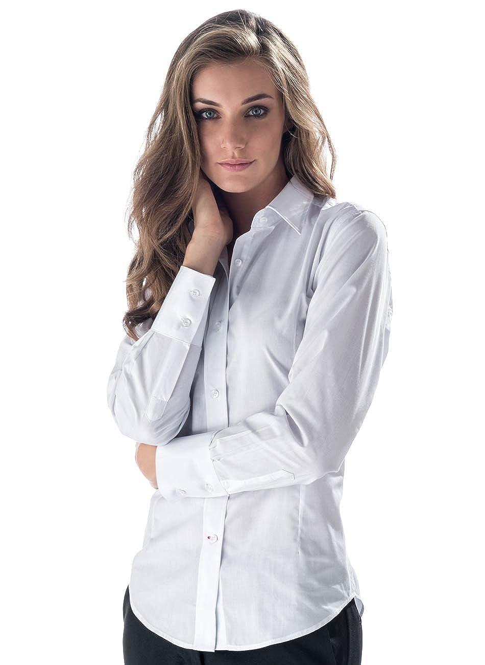Comodo Taschino sul Cuore e Colletto in Tessuto Rigido Marca Italiana Camicia Bianca da Donna da Sala Bar Ideale per Bariste e Cameriere