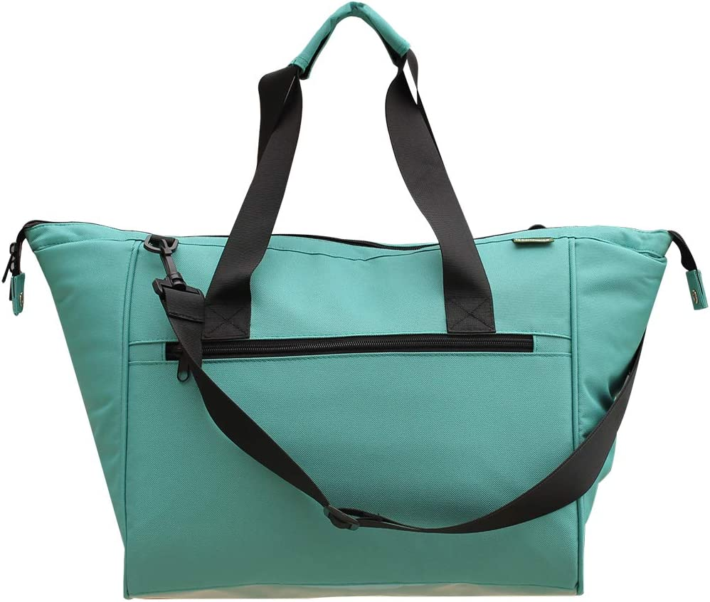 Large Insulated Grocery Shopping Tote Bag with Removable Lining Leakproof Teal Converts to a Handbag Carry Tote Adjustable Shoulder Strap For Grocery, Picnics, Beach (Teal)
