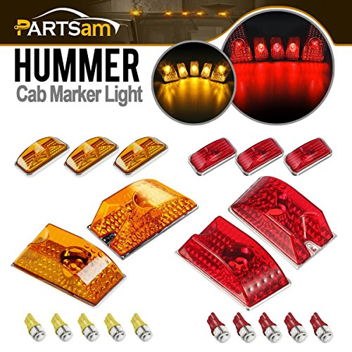 Hummer Roof Lights - Partsam 10pcs Red/Amber Lens 264160 Cab Marker Roof Running Crystal Chrome Lights Assembly + 5xRed+5xYellow T10 194 168 W5W 5-5050-SMD LED Bulbs Compatible with Hummer H2 SUV SUT 2003-2009