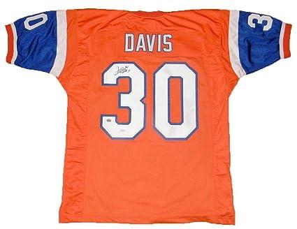 free shipping 97aa0 cb7c2 Autographed Terrell Davis Jersey - #30 Orange Throwback ...
