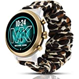 Compatible for Michael Kors MKGO Band, Blueshaw Fabric Elastic Scrunchie Elastic Watch Band Women Cute Replacement Straps Compatible for Michael Kors Access Gen 4 MKGO Smartwatch (Leopard Print)