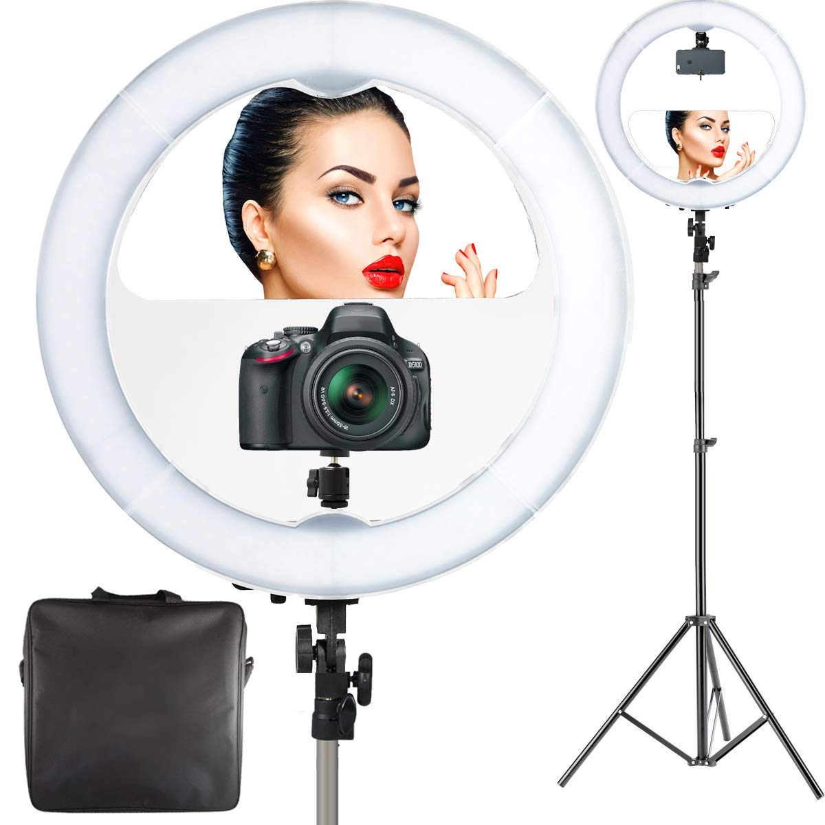 18 Led Video Ring Light With Mirror 6ft Stand Tripod Tiny Efficient High Power Camera Flash Solutions For Cell Phone Adjustable Heavy Duty Mount Dslr Iphone Android Smartphones Professional