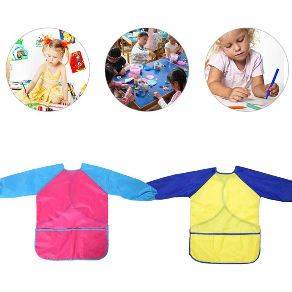 Yidaxing 2Pcs Delantal Infantil Pintura para ni/ños Actividades Creativas de 3 a/ños o m/ás Amarillo /& Rosa