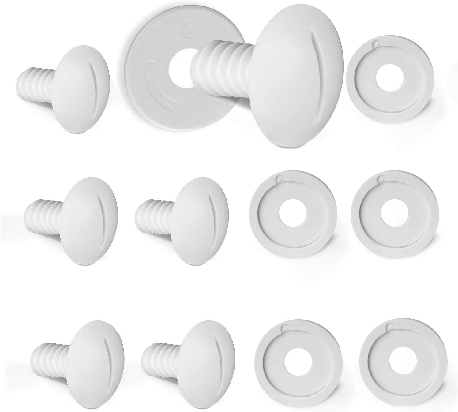 iBayx White Wheel Screws Set Including 6 PCS Plastic Wheel Screws Replacement for Polaris Pool Cleaner 180/280 and 6 PCS Washers Pool Cleaner Replacement Parts C55 C-55, White,12 Pack