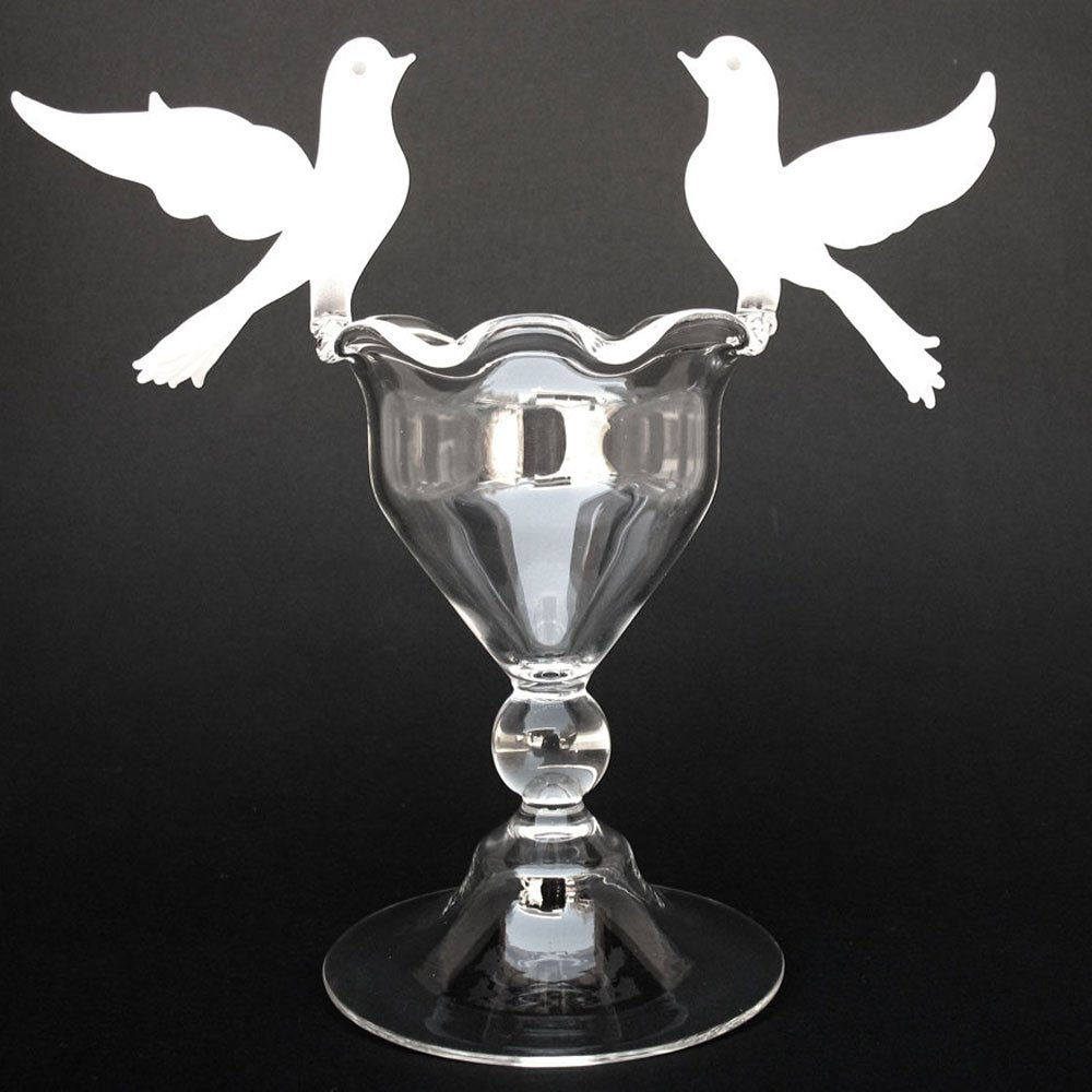 Blown Glass Doves Bird Bath Wedding Cake Topper by Prochaska Gallery