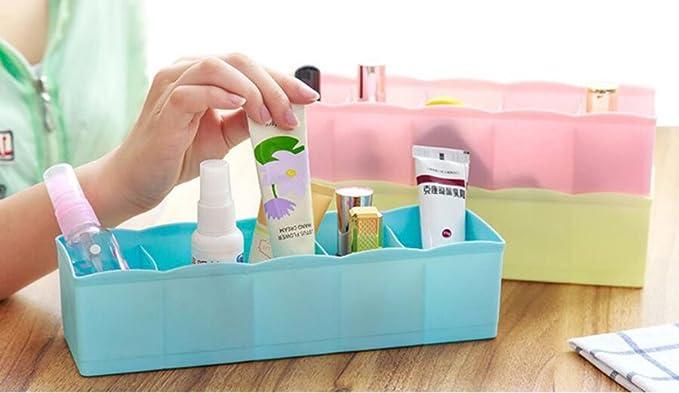 Hosaire Juego de 3 caja de almacenaje con 5 compartimento separado plástico organizadores para cajón color(colores al azar): Amazon.es: Hogar