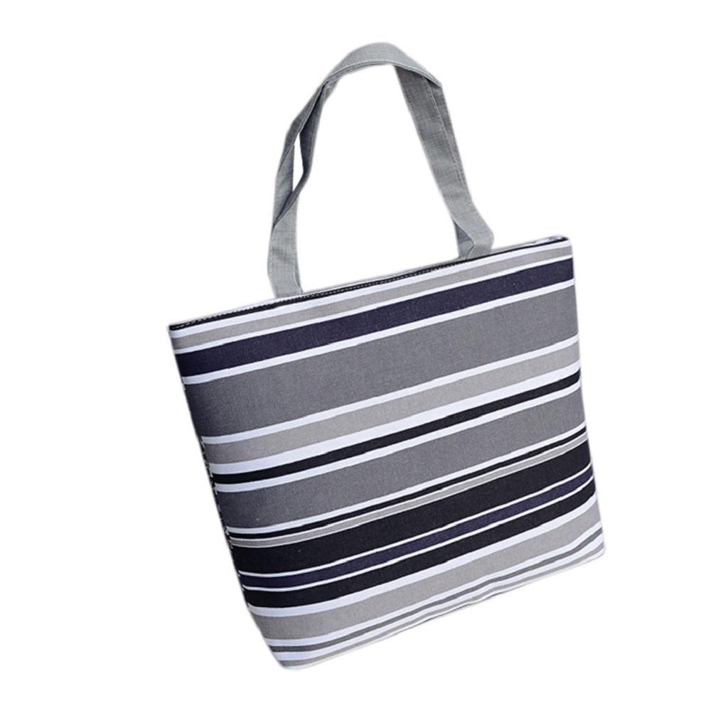 Amazon com : VIASA Stripe Printing Canvas Shopping Handbag