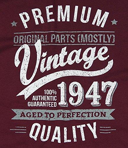 1947 Vintage Year - Aged To Perfection - 70. Geburtstag geschenk T-Shirt fr Herren Burgund XL
