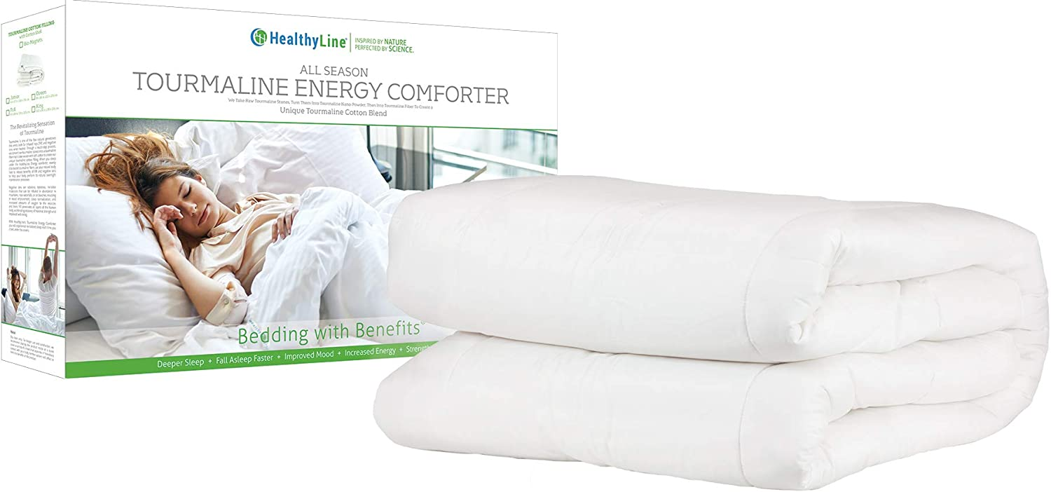 HealthyLine Energy Comforter - Tourmaline Fiber Filled, 233 TC White Cotton Shell, Lightweight, Breathable - Biomagnetic Negative Ion and Far Infrared Therapy (King Size): Health & Personal Care