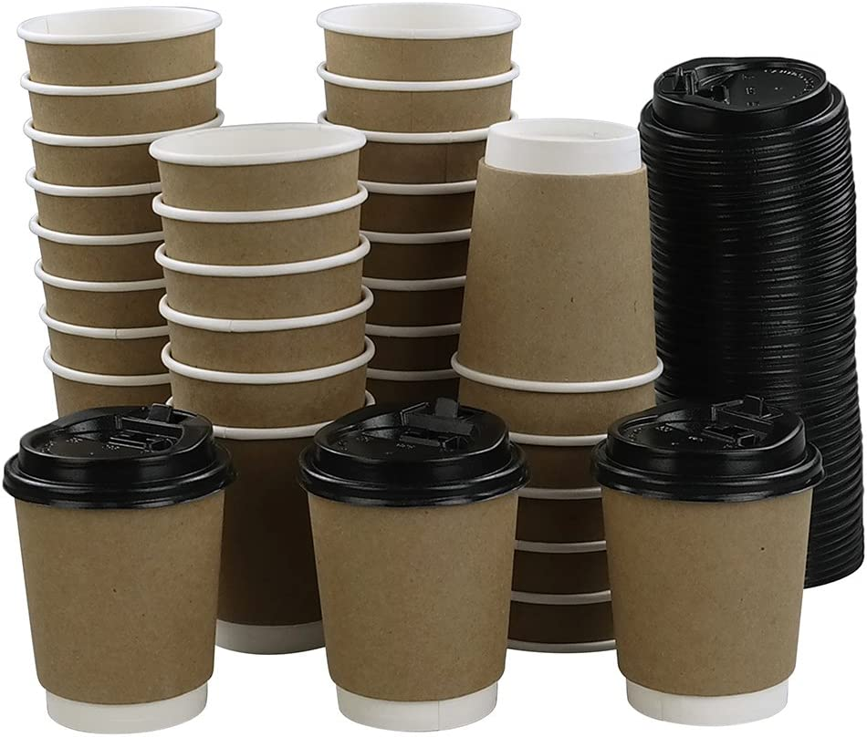 Eagrye 8 Oz To Go Paper Cups with Lids, 100-Count, F: Kitchen & Dining