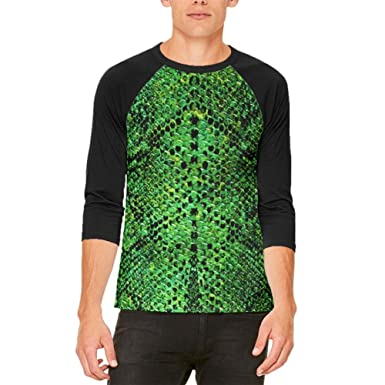 5a26fec946d7cf Amazon.com: Halloween Green Snake Snakeskin Costume Mens Raglan T Shirt:  Clothing